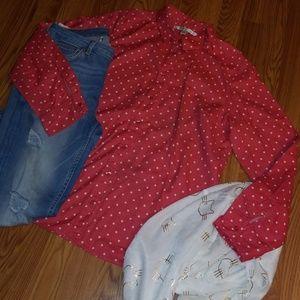 LC Button Down Coral Polka Dot Blouse Size XL